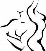 image of nude couple  - Abstract sketch of couple - JPG