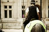 pic of bareback  - Young mounted policewoman patrolling in London - JPG