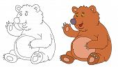 Coloring Pages For Childrens With Funny Animals,funny Bear poster