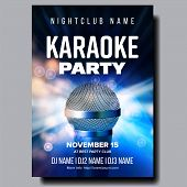 Karaoke Poster Vector. Colorful Instrument. Technology Symbol. Karaoke Party Flyer. Music Night. Rad poster