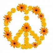 picture of woodstock  - Peace symbol made from orange flower calendula - JPG