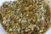 Close Up Of Raw Stuffing Mixture For Thanksgiving Turkey, A Recipe Of Bread Crumbs, Celery, Onion, P poster