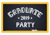 Graduate Party 2019. High School Graduate, College Graduate. The Inscription In Chalk On A Blackboar poster