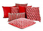 stock photo of pillowcase  - Combination of red and brown pillows on a white background - JPG