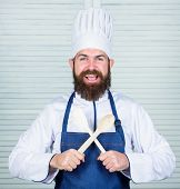 Kitchenware And Cooking Concept. Lets Try Taste. Add Some Spices. Man With Beard In Cook Hat And Apr poster