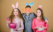 Children With Little Basket Ready Hunting For Easter Eggs. Group Kids Bunny Ears Accessory Celebrate poster