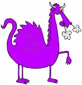 Illustration Of A Purple Dragon With Smoke Coming From Its Snout. poster