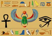 stock photo of ankh  - Set of egyptian icons and hieroglyphics - JPG