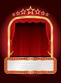 stock photo of marquee  - vector stage with seven stars and blank billboard - JPG