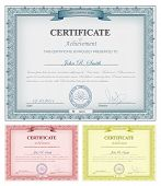 stock photo of certificate  - Vector illustration of multicolored detailed certificates - JPG