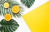Creative Hipster Tropical Leaves And Orange Fruit Background With Copy Space On Bright Background. T poster