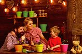 Summer Concept. Family Plant Flowers In Summer House. Little Child With Mother And Father Potting Su poster