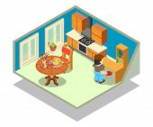 Livingroom Concept Banner. Isometric Banner Of Livingroom Vector Concept For Web, Giftcard And Postc poster