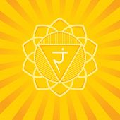 Manipura - The Third Primary Chakra. Vector Square Flat Illustration, Poster, Label, Banner - For Yo poster