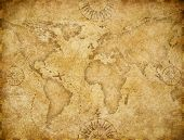 Old world map based on image furnished by NASA poster