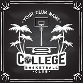 College Basketball Club Badge On The Chalkboard. Vector Illustration. Concept For Shirt, Print, Stam poster