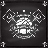 Basketball Club Badge On The Chalkboard. Vector Illustration. Concept For Shirt, Print, Stamp Or Tee poster