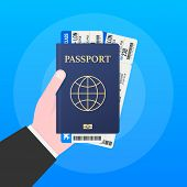 Passport For Travel And Tourism.  Passport In Hand. Man Holds In His Hand The Document. Vector Stock poster