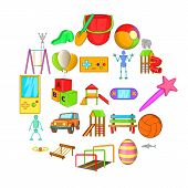 Yard Entertainment Icons Set. Cartoon Set Of 25 Yard Entertainment Icons For Web Isolated On White B poster