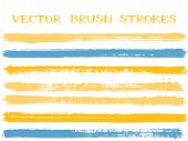 Hipster Ink Brush Strokes Isolated Design Elements. Set Of Paint Lines. Retro Ink Brushe Stripes Iso poster