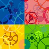 picture of color wheel  - Multicolored seamless background with gears of different sizes and shapes - JPG