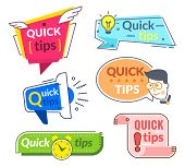 Quick Tip Labels. Tips And Tricks Suggestion, Quickly Help Advice. Helpful Service Vector Banners Se poster