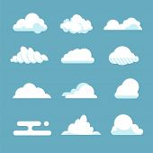 Flat Sky Cloud. Blue Fluffy Cartoon Shapes White Atmosphere Cloudy Elements Vintage Abstract Overcas poster