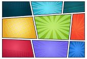 Comic Book Background. Pop Art Retro Page Style, Halftone Cartoon Effect, Comics Frames Cover. Vecto poster