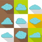 Atmosphere Cloud Icon Set. Flat Style Set Of 9 Atmosphere Cloud Icons For Web Design poster