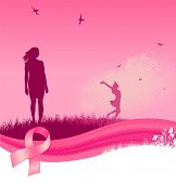 image of breast cancer awareness ribbon  - Breast cancer awareness background - JPG