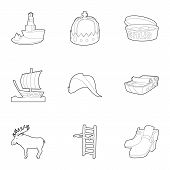 Scandinavia Icons Set. Outline Set Of 9 Scandinavia Icons For Web Isolated On White Background poster