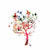 Music Background With Colorful Tree And Music Notes Vector Illustration Design. Artistic Music Festi poster