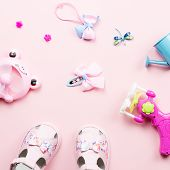 Baby Girls Accessories - Sandals, Toys. Childhood Concept Flat Lay. poster