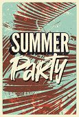 Summer Tropical Party Typographic Vintage Poster Design With Palm Leaves. Retro Vector Illustration. poster