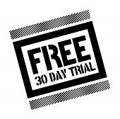 Free Thirty Day Trial Black Stamp On White Background. Flat Illustration poster