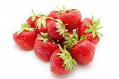Fresh Red Strawberry On White Background, Summertime poster