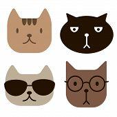 Funny Cat Faces Simlple Art Geometric Illustration. Icon, Graphic Symbol, Part Of Image Design , Coo poster