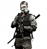 portrait of young soldier with gas mask and rifle against a white background