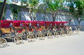 image of rickshaw  - parking trishaw in the old city of Beijing China - JPG