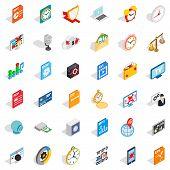 Multimedia Icons Set. Isometric Style Of 36 Multimedia Icons For Web Isolated On White Background poster