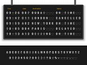 Airport Board. Font Alphabet Info Panel Arrival Departure Display Timetable Destination Flight Termi poster