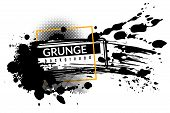 Grunge Ink Background. Black Inked Splatter Dirt Stain Splattered Spray Splash With Drops Abstract T poster