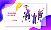 Repair Service Professional Worker Landing Page. Workman On Ladder Change Light Bulb, Paint Wall Bru poster