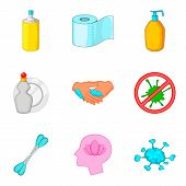 Personal Hygiene Icon Set. Cartoon Set Of 9 Personal Hygiene Icons For Web Design Isolated On White  poster