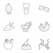Water Recreation Icons Set. Outline Set Of 9 Water Recreation Icons For Web Isolated On White Backgr poster