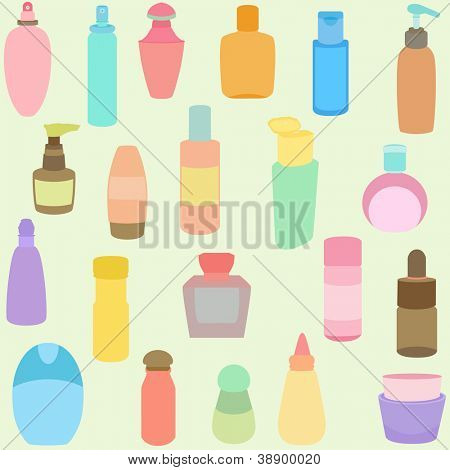 A vector set of Bottle, perfume, glass, containers in Pastel color