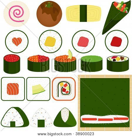 A vector set of Food Icons: Japanese Cuisine - Maki (Rolled Sushi)