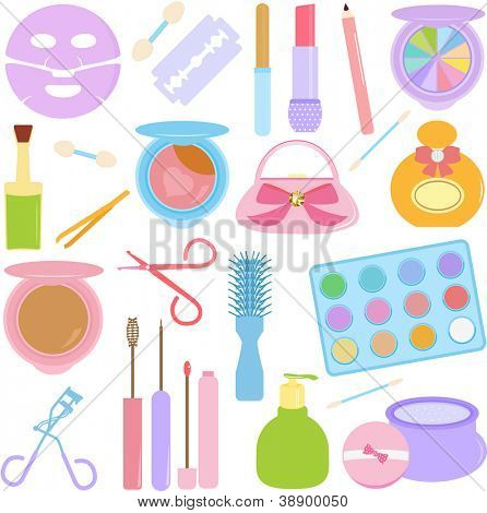 A vector set of Cosmetics, Make-up in Pastel color