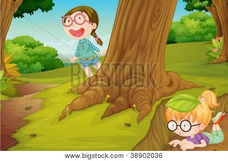 illustration of girls playing in  hide and seek in nature