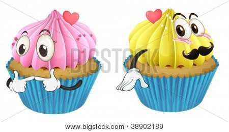 illustration of cupcakes on a white background